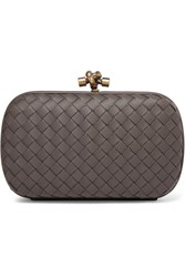 Bottega Veneta Chain Knot Intrecciato Leather Clutch Gray