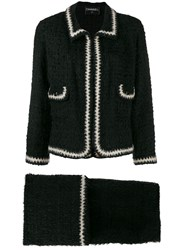 Chanel Pre Owned Two Piece Knitted Suit Black
