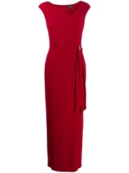 Lauren Ralph Lauren Fitted Draped Dress Red