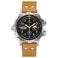 Hamilton H77796535 'S Khaki X Wind Limited Edition Automatic Chronograph Date Leather Strap Watch Tan Black
