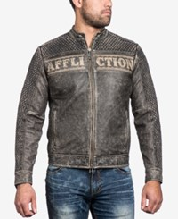 Affliction Men's Black Skull Leather Moto Jacket Brown