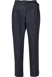 Brunello Cucinelli Cropped Beaded Tapered Jeans Blue