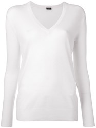 Joseph V Neck Jumper White