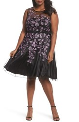 Decode 1.8 Plus Size Women's Embroidered Mesh Fit And Flare Dress Black Purple