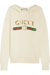 Gucci Embroidered Cotton Jersey Hooded Top Off White