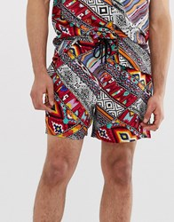 New Look Co Ord Shorts In Aztec Print Multi