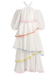 Anna October Tiered Ric Rac Trim Dress White