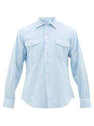 The Gigi Cuban Collar Striped Cotton Seersucker Shirt Blue White