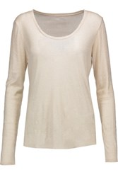 Majestic Metallic Cotton Cashmere And Silk Blend Top Beige