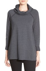 Women's Caslon Cowl Neck Fleece Pullover Heather Charcoal