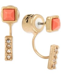 Kenneth Cole Gold Tone Coral Stone Pave Crystal Stud Earrings