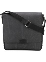 Etro Logo Buckle Messenger Bag Black