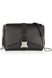 Christopher Kane Safety Buckle Textured Leather Shoulder Bag Black