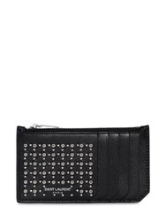 Saint Laurent Studs And Eyelets Leather Zip Card Holder Black
