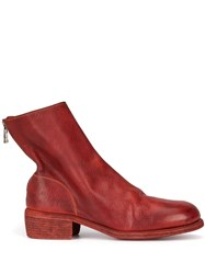 Guidi Round Toe Ankle Boots Red
