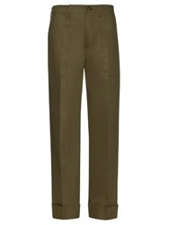 Mafalda Von Hessen Wide Leg Cotton Blend Trousers Dark Green