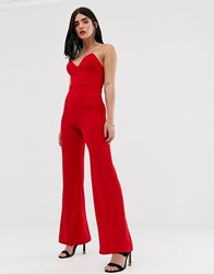 Club L Bandeau Jumpsuit With Boning In Red