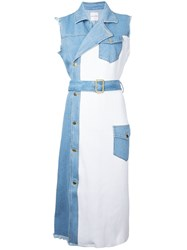 Each X Other Sleeveless Denim Dress Women Cotton S White