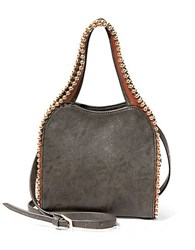 Big Buddha Glorie Studded Faux Leather Tote Charcoal