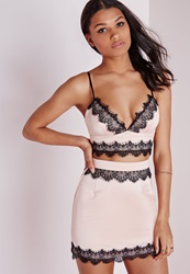 Missguided Satin Lace Bralet Baby Pink Pink