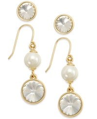 Charter Club Gold Tone 2 Pc. Set Crystal Studs And Pearl Drop Earrings Only At Macy's