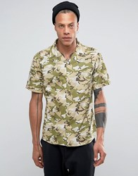 Systvm Camo Revere Collar Shirt Green