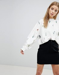 Pimkie Ditsy Floral Embroidered Sweatshirt White
