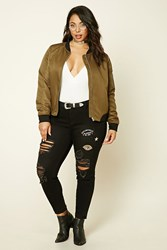 Forever 21 Plus Size Mid Rise Patch Jeans Black