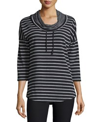 Neiman Marcus Active Striped Cowl Neck Tunic Black Heather Gray