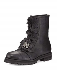 Jimmy Choo Havana Floral Embellished Combat Boot Black