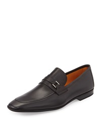 Magnanni For Neiman Marcus Square Toe Slip On Leather Loafer Black