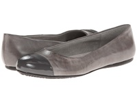 Softwalk Napa Grey Dark Grey Soft Dull Leather Patent Man Made Women's Flat Shoes Gray