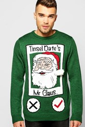 Boohoo Tinsel Date Christmas Jumper Green
