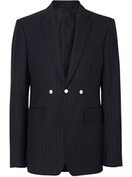 Burberry English Fit Triple Stud Pinstriped Wool Tailored Jacket Black