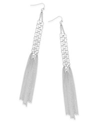 Thalia Sodi Beaded Mesh And Fringe Drop Earrings Only At Macy's Silver