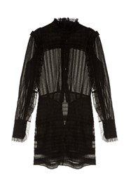 Isabel Marant Qods Ruched Stretch Silk Dress Black