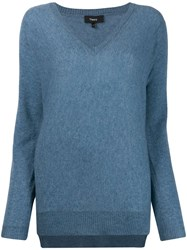 Theory Long Sleeve Jumper Blue