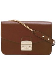 Furla Envelope Flap Bag With Gold Tone Shoulder Chain Brown