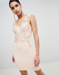 Lipsy Plunge Neck Lace Applique Bodycon Dress Pink