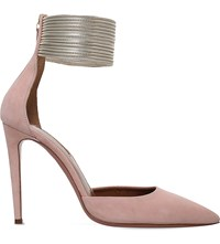Aquazzura Hello Lover Suede Courts Pale Pink
