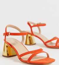 London Rebel Wide Fit Mid Heel Stud Sandals Orange