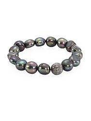 Bavna 8 10Mm Dyed Baroque Pearl And Diamonds Bracelet Natural