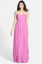 Donna Morgan 'Laura' Ruched Sweetheart Silk Chiffon Gown Plus Size Purple
