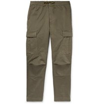 Officine Generale Slim Fit Garment Dyed Cotton Twill Drawstring Cargo Trousers Green