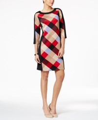 Nine West Printed Shift Dress Red Multi