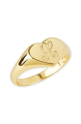 Argentovivo Initial Heart Signet Ring Gold A