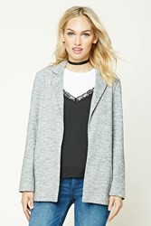 Forever 21 Contemporary Marled Blazer Grey Cream