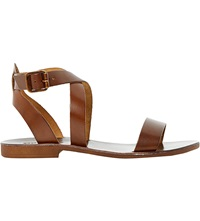 Dune Lotti Leather Cross Over Sandals Tan Leather