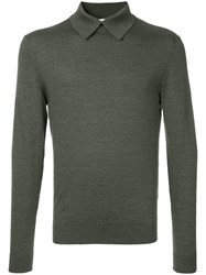 Cerruti 1881 Long Sleeve Fitted Polo Top Green