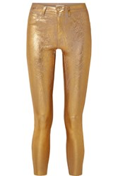 L'agence Margot Metallic Coated High Rise Skinny Jeans 24